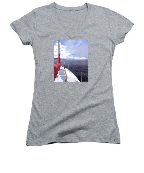 Women's V-Neck T-Shirt (Junior Cut) featuring the painting Cruising North by Gary Giacomelli