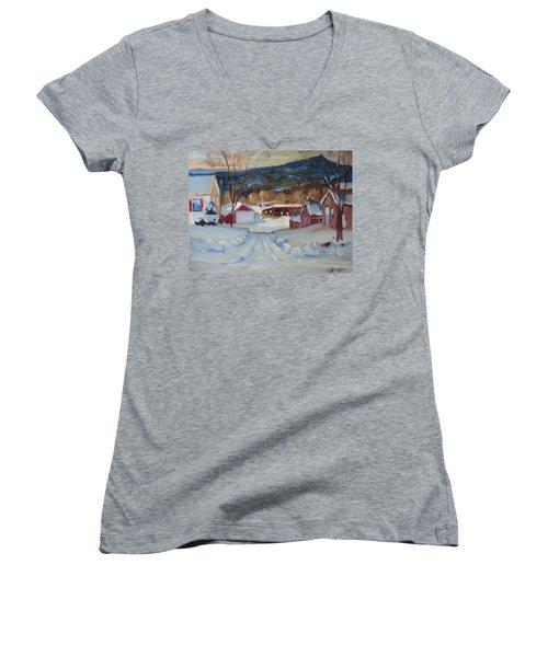 Eddie's Women's V-Neck T-Shirt (Junior Cut) by Len Stomski