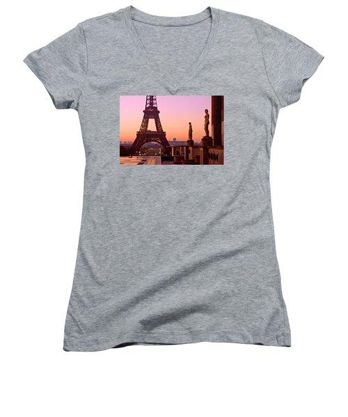 Eiffel Tower At Dawn / Paris Women's V-Neck (Athletic Fit)