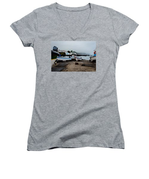 Fishing Boats On Wharf With View Of Houses  Women's V-Neck (Athletic Fit)