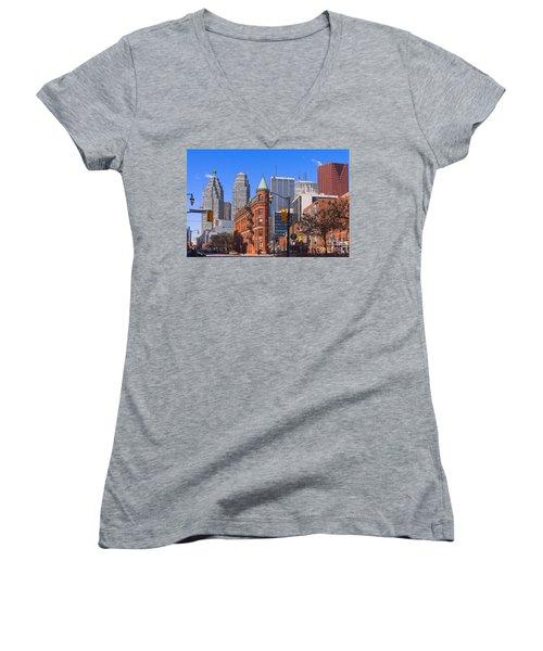 Flatiron Building In Toronto Women's V-Neck T-Shirt