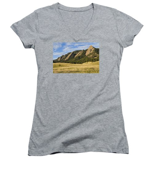 Flatirons With Golden Grass Boulder Colorado Women's V-Neck