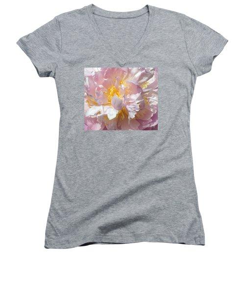 Women's V-Neck T-Shirt (Junior Cut) featuring the photograph Flirtatious Pink by Lilliana Mendez
