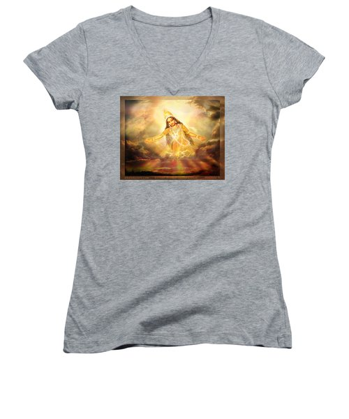 Women's V-Neck T-Shirt (Junior Cut) featuring the mixed media Flying Home  by Ananda Vdovic