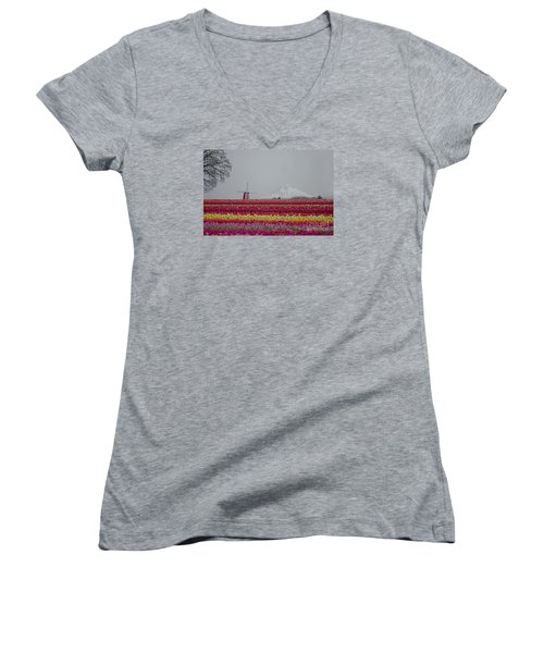 For The Beauty Of The Earth Women's V-Neck T-Shirt (Junior Cut) by Nick  Boren
