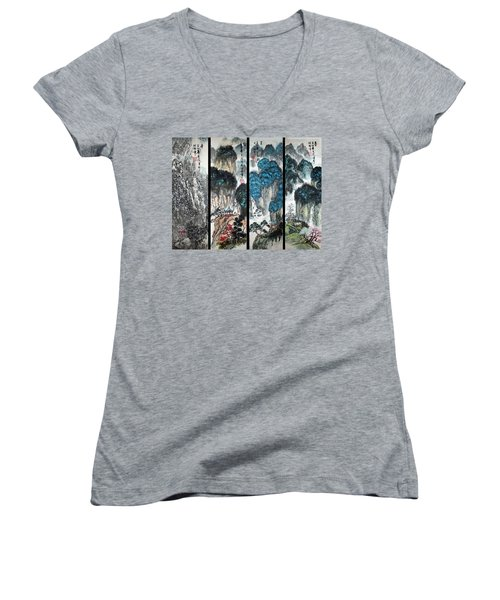 Women's V-Neck T-Shirt (Junior Cut) featuring the photograph Four Seasons In Harmony by Yufeng Wang