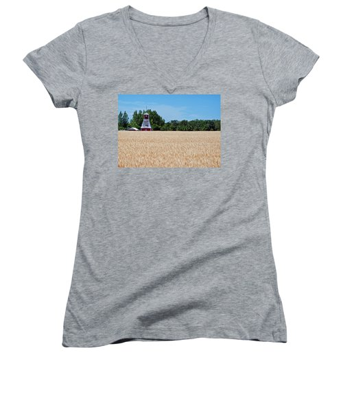 Women's V-Neck T-Shirt (Junior Cut) featuring the photograph Fox Tower by Keith Armstrong