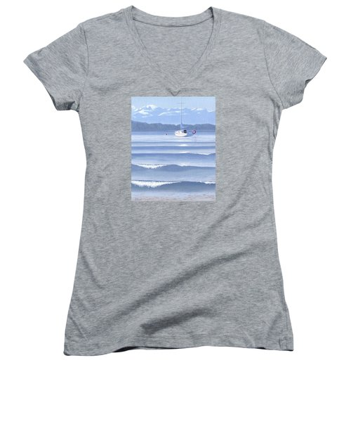 Women's V-Neck T-Shirt (Junior Cut) featuring the painting From The Beach by Gary Giacomelli