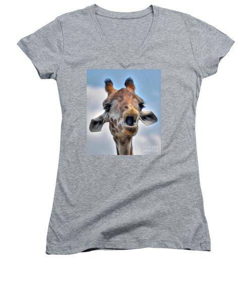 Women's V-Neck T-Shirt (Junior Cut) featuring the photograph Giraffe  by Savannah Gibbs