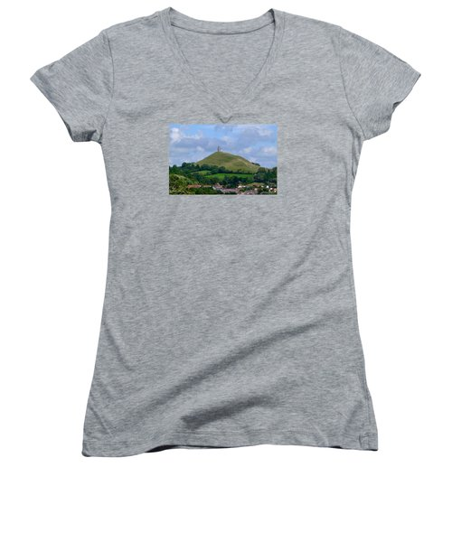 Glastonbury Tor Women's V-Neck T-Shirt