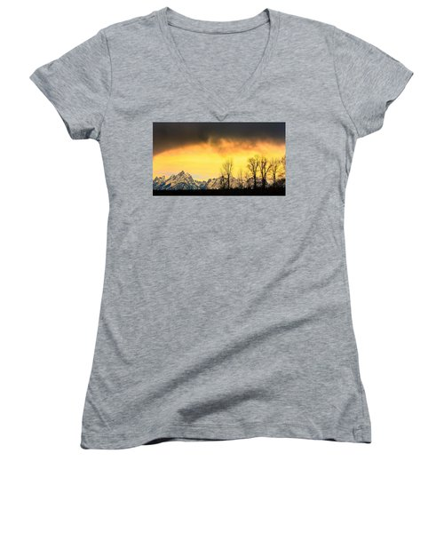 Women's V-Neck T-Shirt (Junior Cut) featuring the photograph Grand Tetons Wyoming by Amanda Stadther