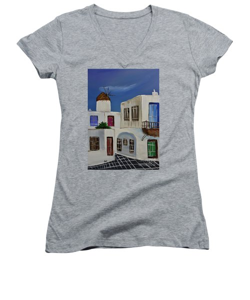 Women's V-Neck T-Shirt (Junior Cut) featuring the painting Greek Village by Janice Rae Pariza