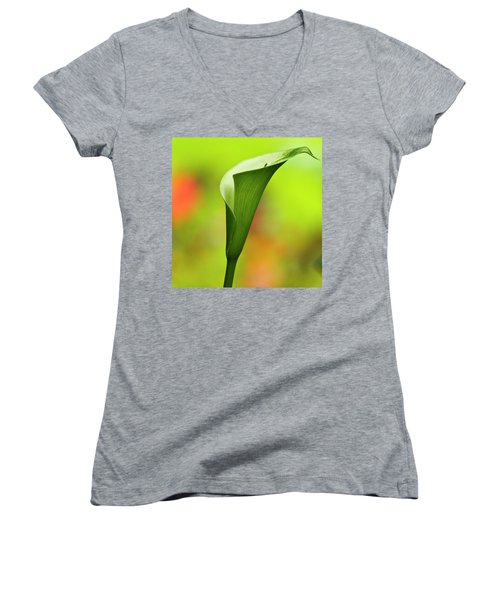 Women's V-Neck featuring the photograph Green Calla Lily by Heiko Koehrer-Wagner