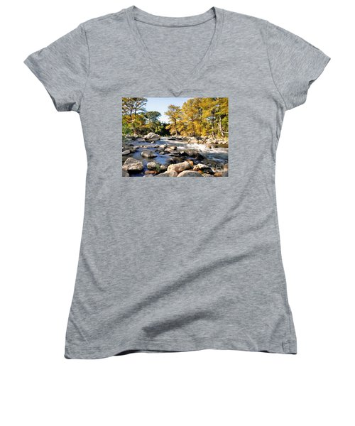 Guadalupe River  Women's V-Neck T-Shirt (Junior Cut) by Savannah Gibbs