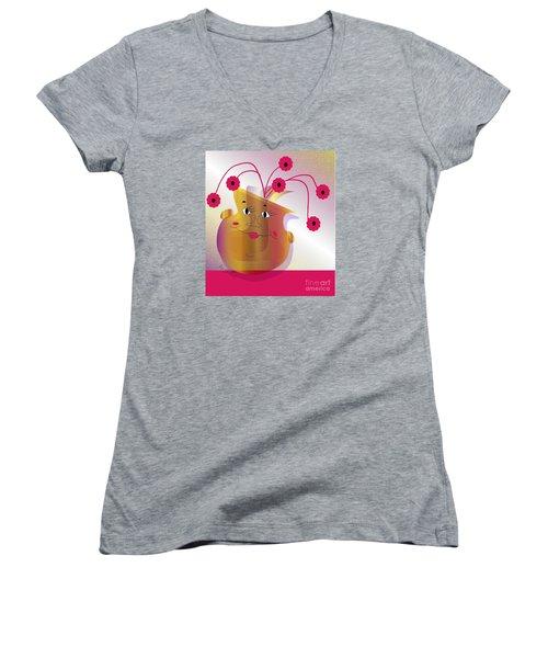 Women's V-Neck T-Shirt (Junior Cut) featuring the digital art Happy Dance by Iris Gelbart