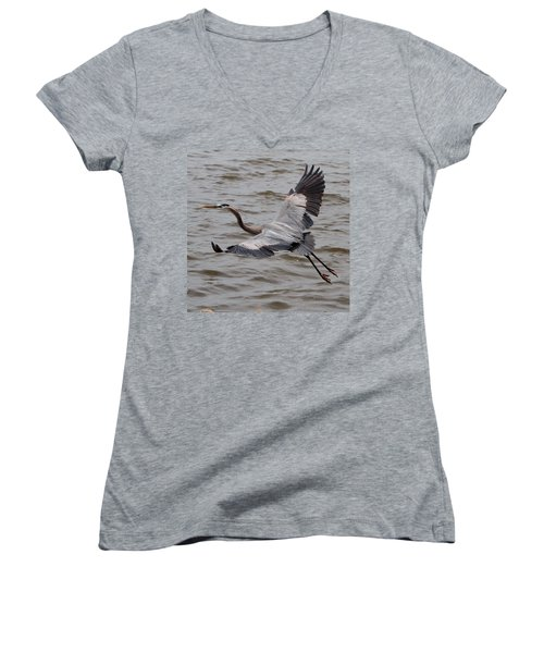 Heron In Flight. Women's V-Neck (Athletic Fit)