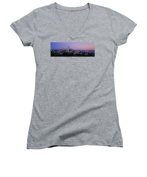 High Angle View Of A City At Sunrise Women's V-Neck T-Shirt