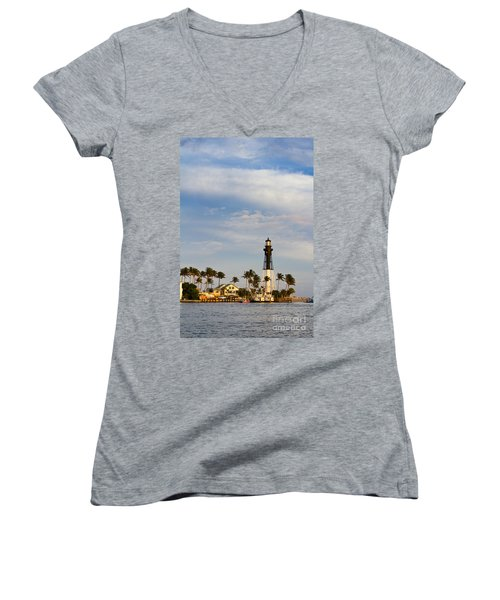 Hillsboro Inlet Lighthouse Women's V-Neck (Athletic Fit)