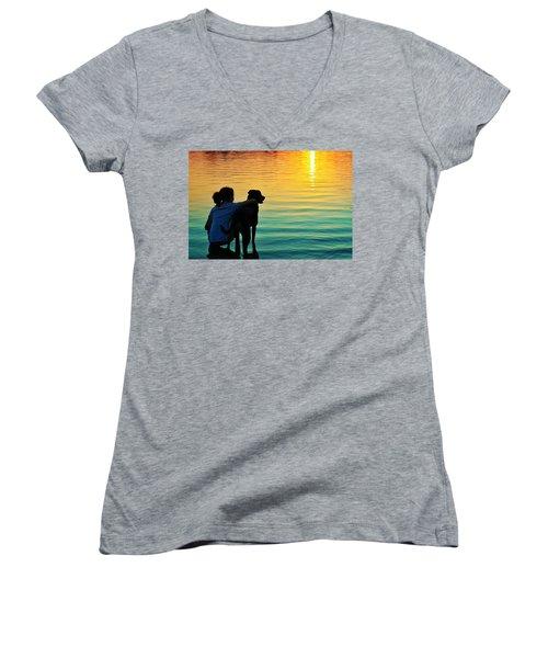 Island Women's V-Neck T-Shirt (Junior Cut) by Laura Fasulo