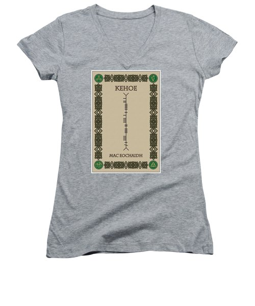 Women's V-Neck T-Shirt (Junior Cut) featuring the digital art Kehoe Written In Ogham by Ireland Calling