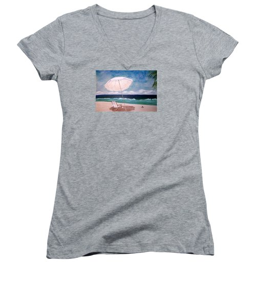 Women's V-Neck T-Shirt (Junior Cut) featuring the painting Lazy Day by Jamie Frier