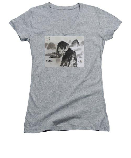 Women's V-Neck T-Shirt (Junior Cut) featuring the photograph Li River by Yufeng Wang