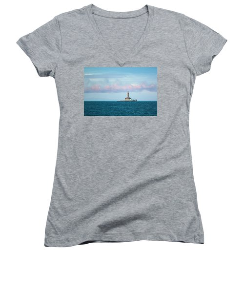 Women's V-Neck T-Shirt (Junior Cut) featuring the photograph Lighthouse by Davorin Mance