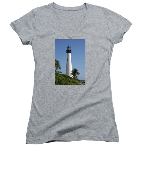 Women's V-Neck T-Shirt (Junior Cut) featuring the photograph Ligthouse - Key Biscayne by Christiane Schulze Art And Photography