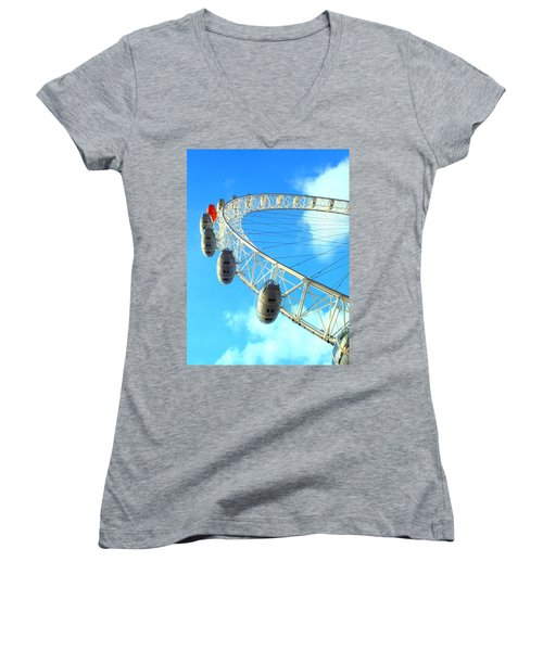 London Eye Women's V-Neck T-Shirt (Junior Cut) by Rachel Mirror
