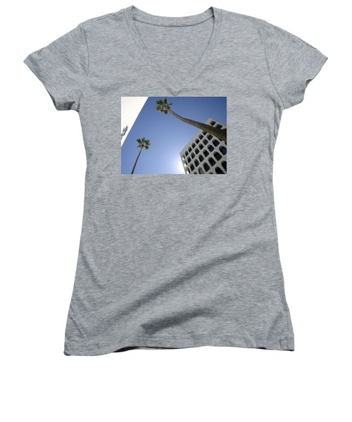 Women's V-Neck T-Shirt (Junior Cut) featuring the photograph Looking Up In Beverly Hills by Cora Wandel