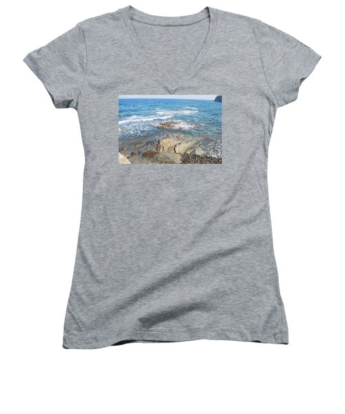 Women's V-Neck T-Shirt (Junior Cut) featuring the photograph Low Tide by George Katechis