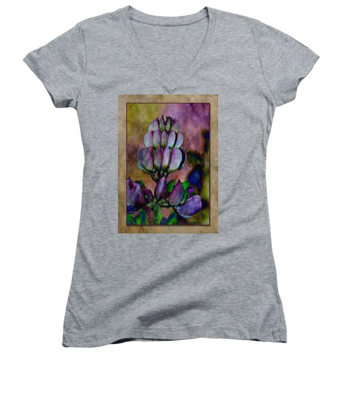 Women's V-Neck T-Shirt (Junior Cut) featuring the photograph Lupin Blossom by WB Johnston