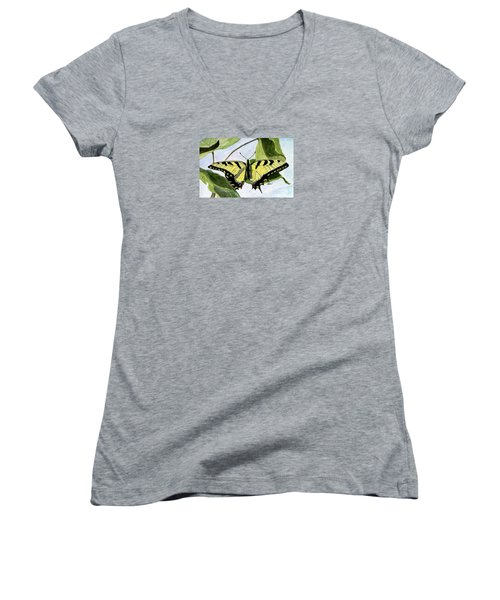 Male Eastern Tiger Swallowtail Women's V-Neck T-Shirt (Junior Cut) by Angela Davies