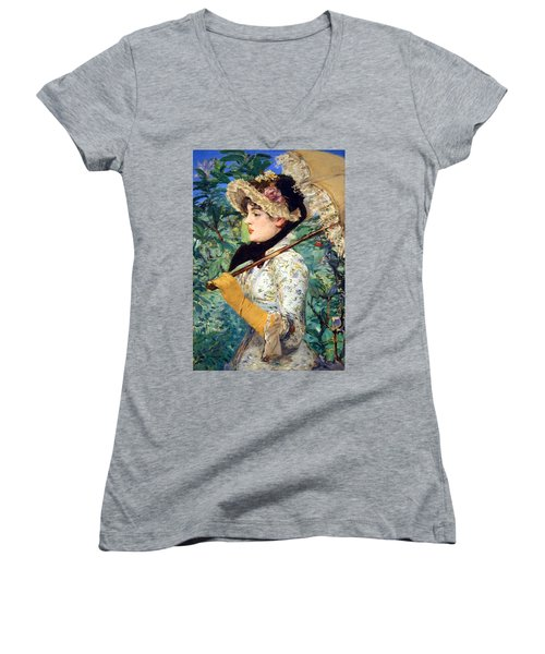 Women's V-Neck T-Shirt (Junior Cut) featuring the photograph Manet's Spring by Cora Wandel