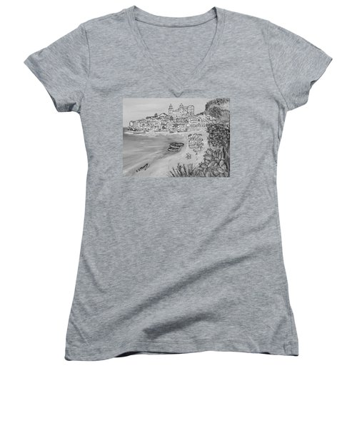Women's V-Neck T-Shirt (Junior Cut) featuring the painting Memorie D'estate by Loredana Messina