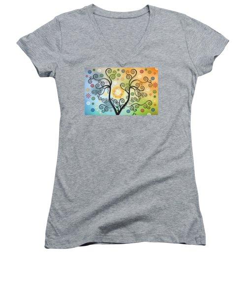 Women's V-Neck T-Shirt (Junior Cut) featuring the digital art Moon Swirl Tree by Kim Prowse