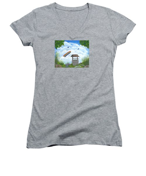 Women's V-Neck T-Shirt (Junior Cut) featuring the painting My Wishing Place by Sheri Keith