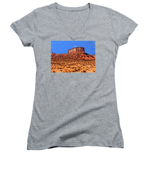 Women's V-Neck T-Shirt (Junior Cut) featuring the painting National Navajo Tribal Park by Bob and Nadine Johnston