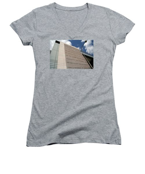 Women's V-Neck T-Shirt (Junior Cut) featuring the photograph The Newseum by Cora Wandel