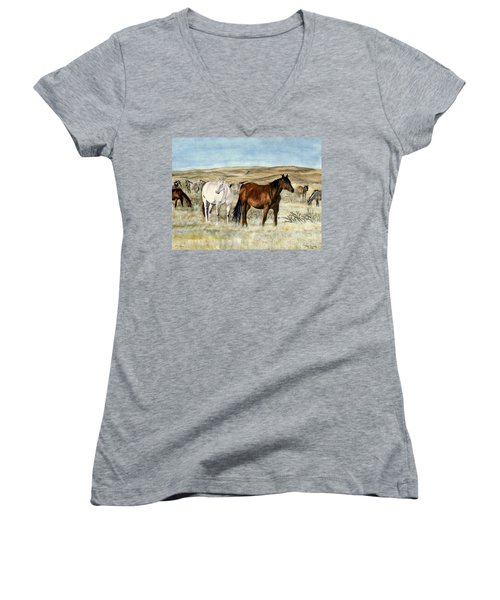 Women's V-Neck T-Shirt (Junior Cut) featuring the painting Nine Horses by Melly Terpening