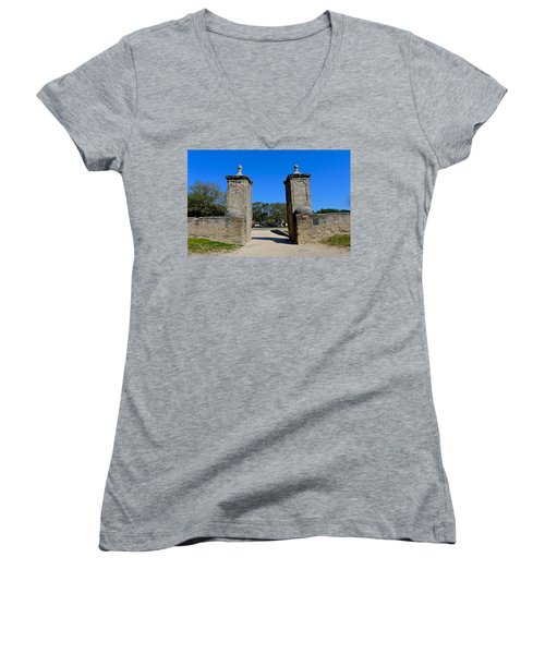 Old City Gates Of St. Augustine Women's V-Neck T-Shirt