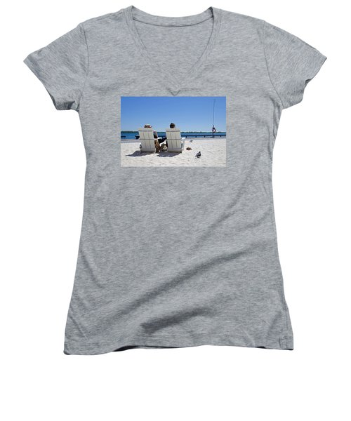 Women's V-Neck T-Shirt (Junior Cut) featuring the photograph On The Waterfront by Keith Armstrong