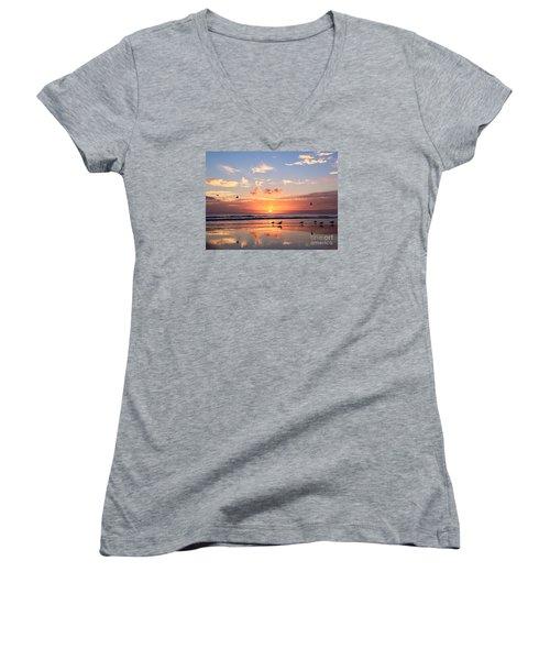 Painted Sky Women's V-Neck T-Shirt (Junior Cut) by LeeAnn Kendall