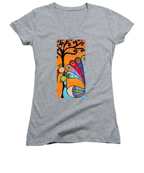 Women's V-Neck T-Shirt (Junior Cut) featuring the painting 2 Peacocks And Tree by Pristine Cartera Turkus