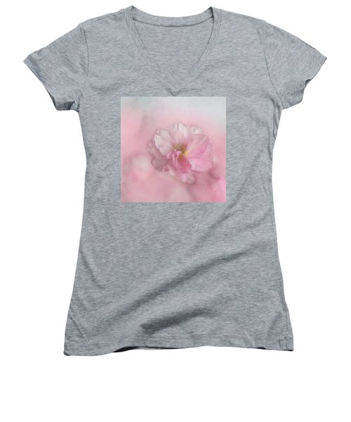 Pink Blossom Women's V-Neck (Athletic Fit)