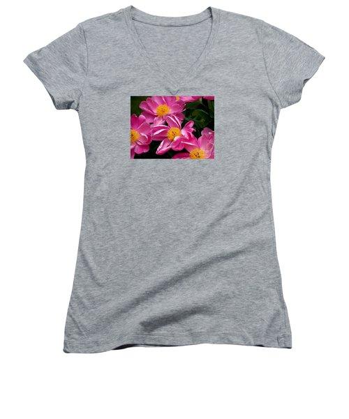 Pink Petals Women's V-Neck T-Shirt (Junior Cut) by Eunice Miller