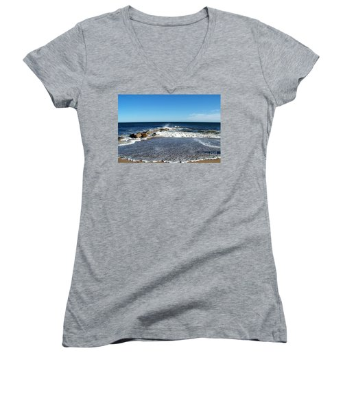 Women's V-Neck T-Shirt (Junior Cut) featuring the photograph Plum Island Landscape by Eunice Miller