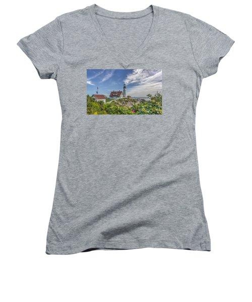 Women's V-Neck T-Shirt (Junior Cut) featuring the photograph Portland Headlight by Jane Luxton