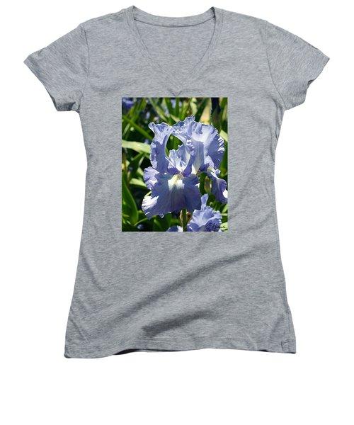 Purple Bearded Iris Women's V-Neck T-Shirt (Junior Cut) by Ellen Henneke