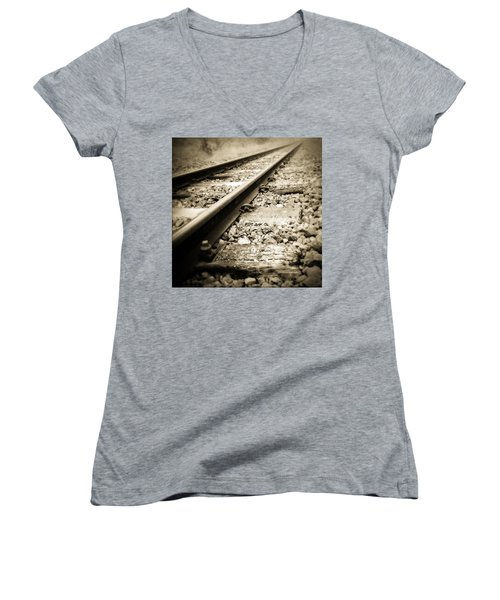 Railway Tracks Women's V-Neck T-Shirt (Junior Cut) by Les Cunliffe